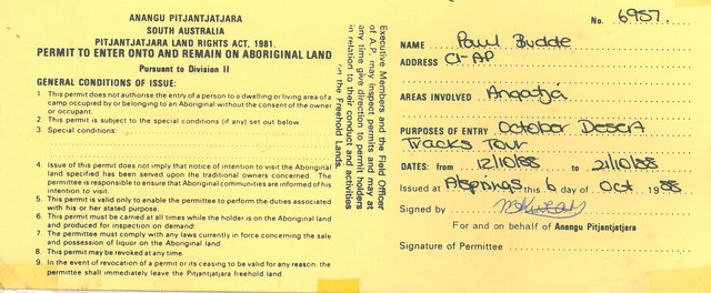 Permission to enter Pjitjantjatjara lands
