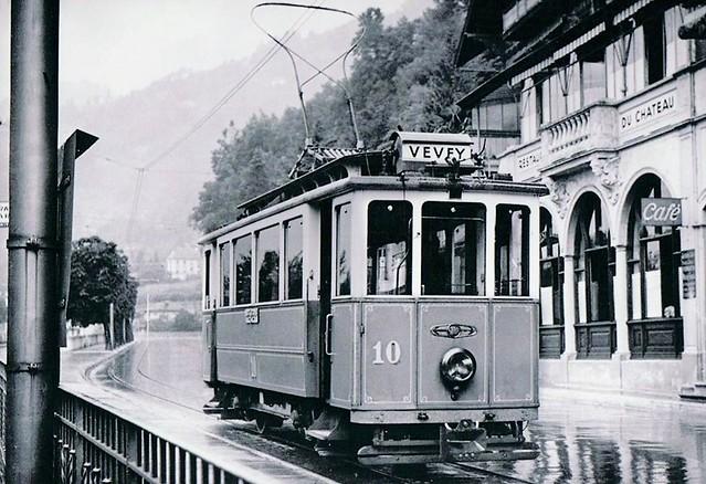 Trams de Vevey Montreux Chillon (Suisse)