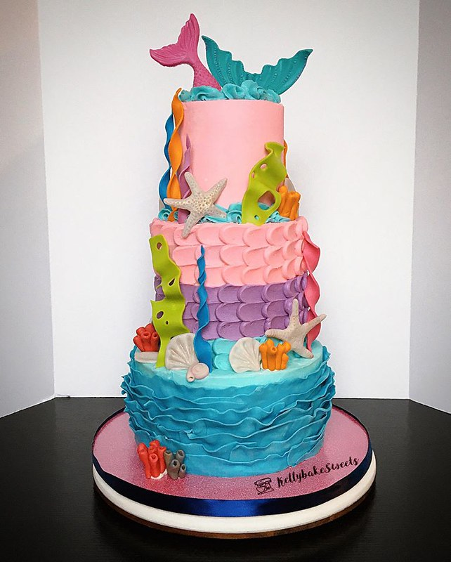 3 Tiered Mermaids and Corals by Kelly Bake Sweets