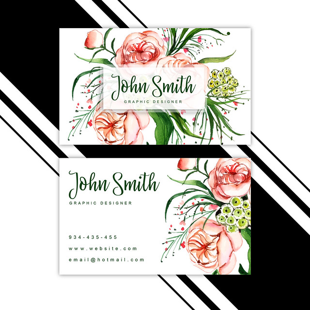 Watercolor Floral Visiting Card