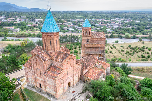 ancient traveldestinations georgiacountry spirituality church landmark colorimage placeofworship religious travel remotelocation outdoors christianity monastery georgianculture caucasus architecture aerialview horizontal tourism asia dronepointofview kvareli kakheti georgia