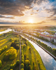 Sunny evening | Kaunas aerial