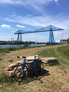 My Road Bike and the Tees Transporter Bridge in the background