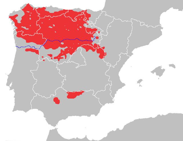 Mapa de distribución del lobo ibérico en España y norte de Portugal