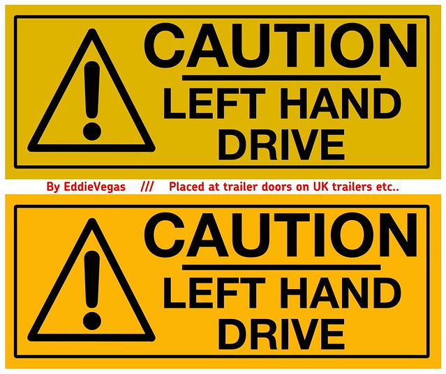 Caution left hand drive warning sign texture