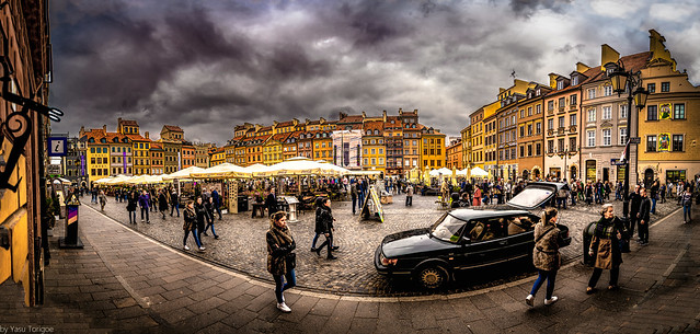 Multiphoto panorama of people at the Old Town Market Square on a dark and rainy day, Warsaw, Poland.  155-Pano-Edit-Edit-2a