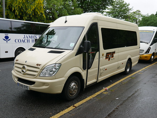 Eve Coaches Mercedes Benz 516CDi EVM EV10EVE, formerly N1EVE and new as RX13CJV, at Mount Florida, Glasgow, on 25 May 2019.