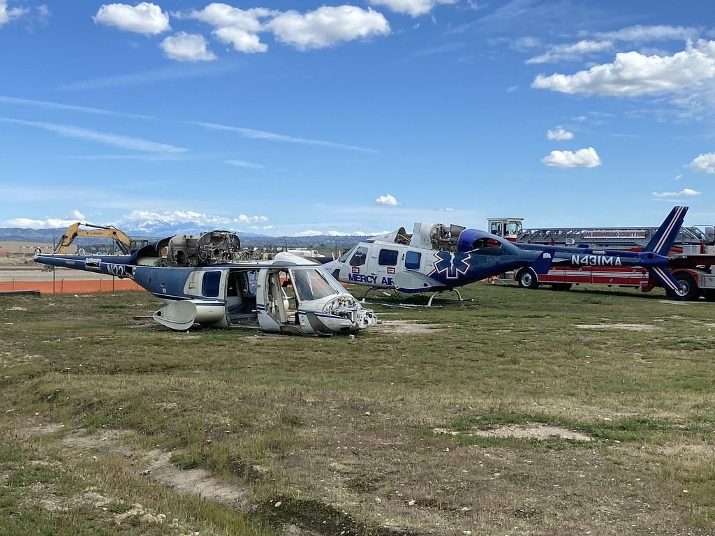 N222LF, Bell 222UT (47528) & N431MA, Bell 222U (47504), San Bernardino 22nd March 2020