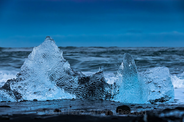 Glacial Ice along Diamond Beach in Iceland