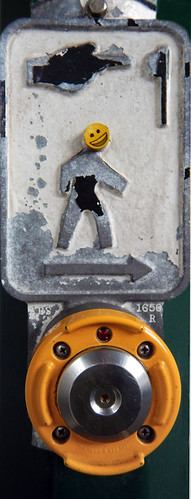 Happy Face on a pedestrian push button on the way home