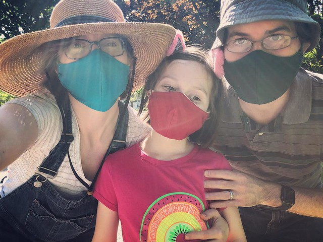 Now we each have fitted masks in our favorite colors (bright blue, red, and dark green!)