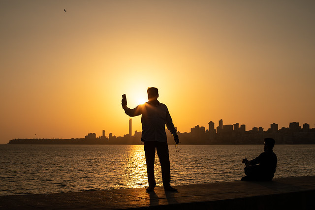 Sunset Selfie by the Sea, Mumbai