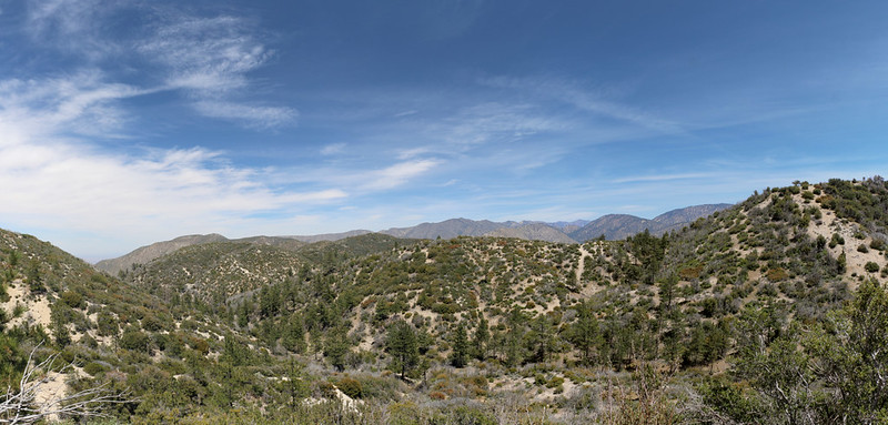 Panorama view north and east from the PCT near mile 410 as we climb Pacifico Mountain