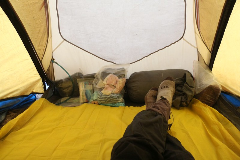 We were mostly packed up but we put down a plastic sheet in the tent to eat breakfast in a dry environment