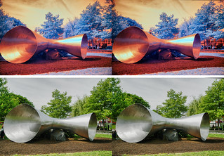 Two stereoscopic depictions of the sculpture on the grounds of the Institute of Marine and Environmental Technology in Baltimore. The top is with a 665nm IR filter in front of the lens, the  botton is in full color.