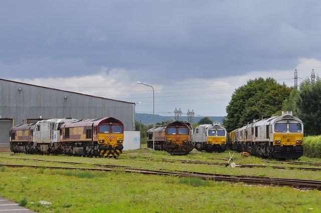 66218, 92 87 0002 009-7 F-(Ex SNCB 5707) & 66202, 66219, 77003-7 & 77004-5 at Alizay Depot on 19 08 2014