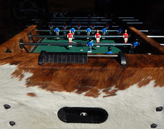 Foozeball game upholstered in cowhide in Aarhus, Denmark