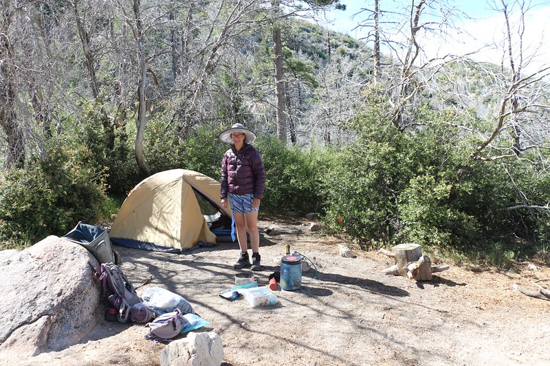 Our campsite on the PCT on the east side of Pacifico Mountain, at PCT mile 410 (CS0410)