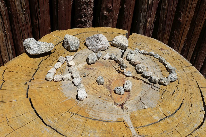 PCT mile 400 marker made by hikers out of loose rocks at Camp Glenwood