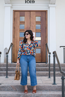 floral silk blouse, wide leg jeans, rust mules, brown bag-6.jpg | by LyddieGal