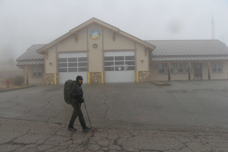 The Mill Creek Fire Station in the misty rain