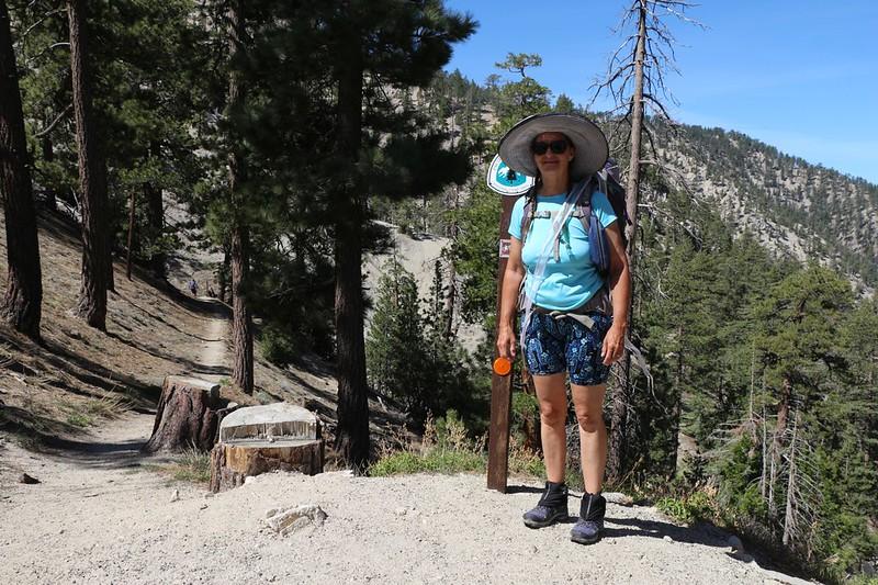 Vicki at the Pacific Crest Trail trailhead heading north from Cloudburst Summit
