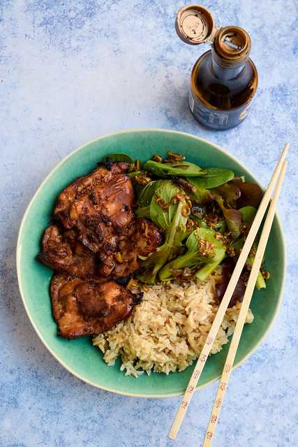 Sweet Chilli Soy Chicken Bowls and Japanese Dressed Leaves