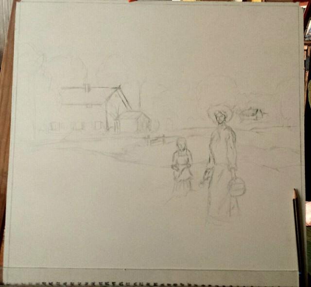Recogiendo flores...   Boceto sobre tabla para óleo.   .   .   #art #artlovers #dailyart #artoftheday #artofinstagram #drawing #painting #draw #artwork #instaart #sketch  #pueblo #painter #oilpainting #oleo #pueblo #oil #pencildrawing #buenosdias#buongior