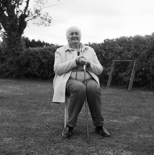 My mum who is 80 today. I took this recently on a Yashica twin lens medium format film camera.