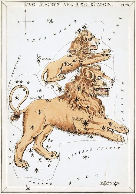 VCSE - A Leo (Oroszlán, alul) és a Leo Minor (Kisoroszlán, felül) csillagképek ábrázolása az Urania Mirror című, 1824-ben Londonban kiadott csillagtérképen. - Forrás: wikiwand.com