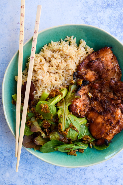 Sweet Chilli Soy Chicken Bowls with Japanese Dressed Leaves