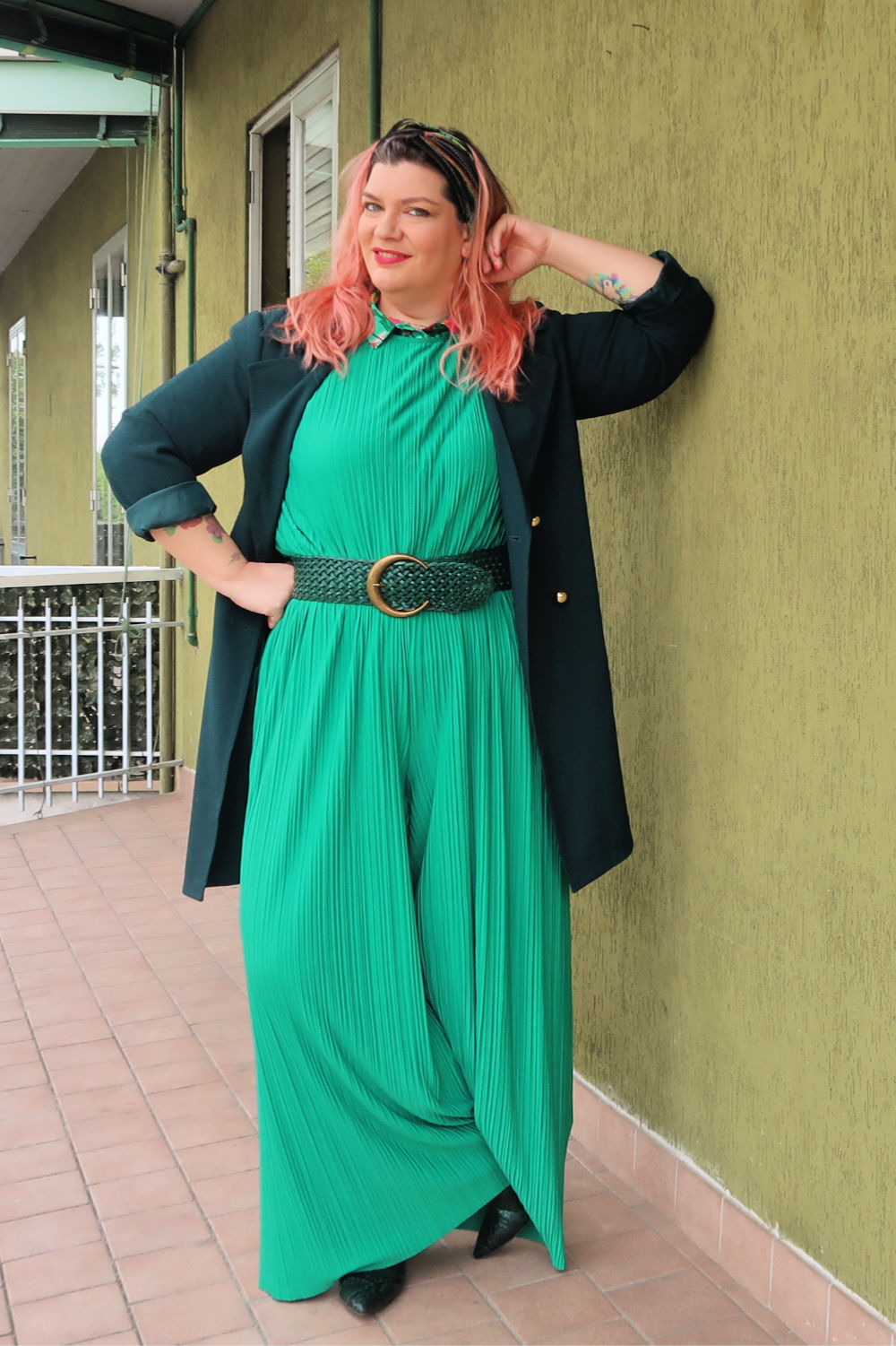 Verde, outfit plus size, curvycolorchallenge , come indossarlo (2)