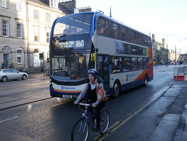 Stagecoach AD E40D Alexander Dennis Enviro 400MMC YX19OUO 11189 operating service X60 to Kirkcaldy at York Place, Edinburgh, on 16 December 2019.