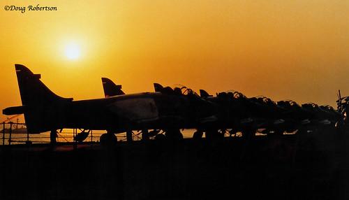seaharrier fleetairarm royalnavy bombay india hmsarkroyal sunset