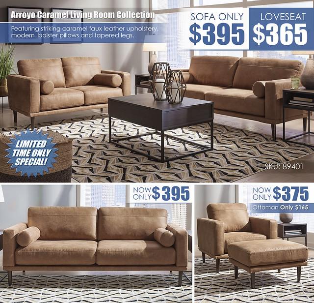 Arroyo Caramel Living Sofa or Loveseat Layout_89401