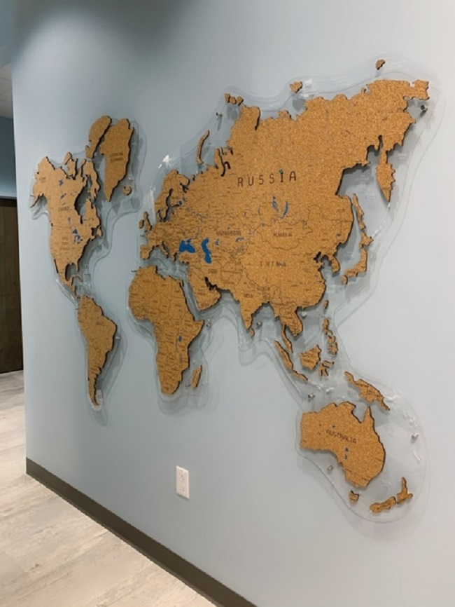 World map in the hallway at O2 Dental Group of Durham NC