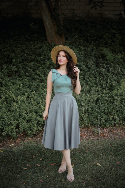 Miss Candyfloss Tamara Mint Top MIss Candyfloss Primrose Skirt in Silver