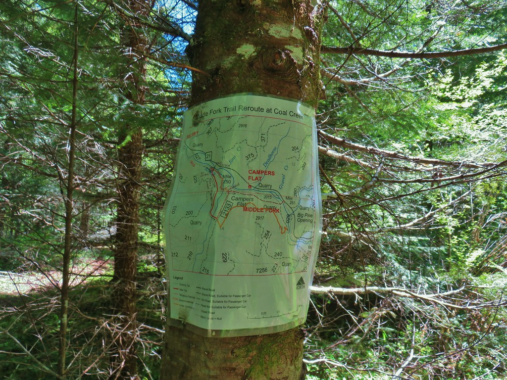 Sign for a reroute of the Middle Fork Trail