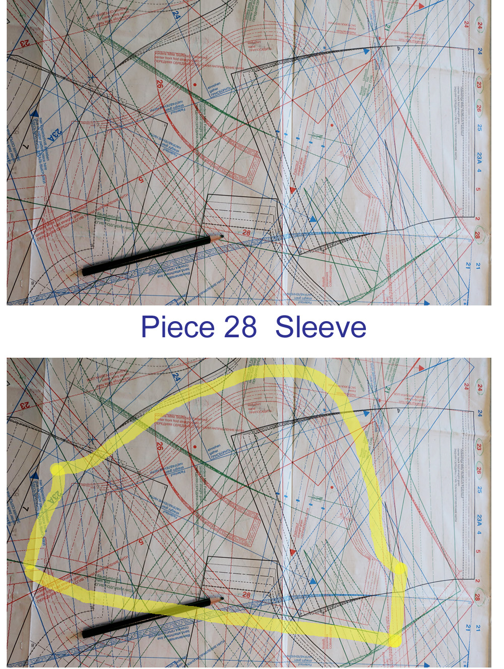 Burda sleeve piece pattern sheet