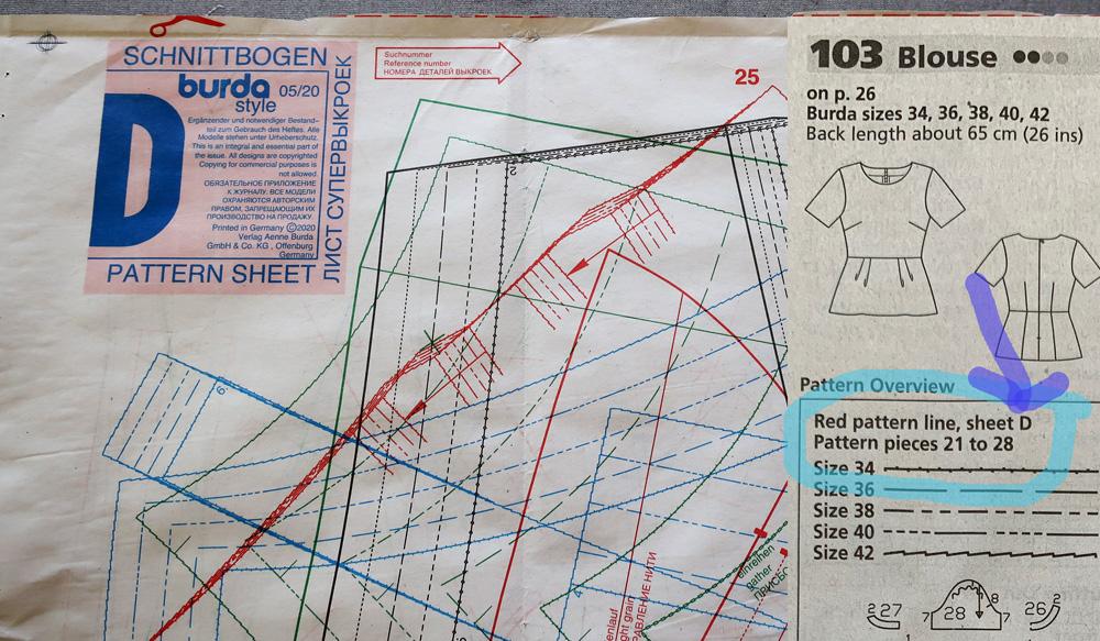 Burda pattern sheet D info