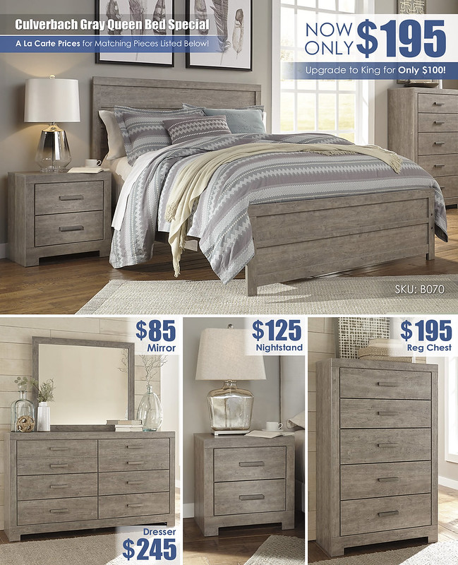 Culverbach Gray A La Carte Bedroom Layout Special_B070