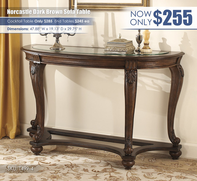 Norcastle Dark Brown Sofa Table_T499-4