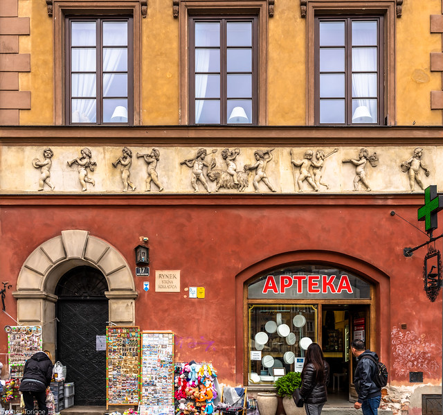 Multiphoto panorama of Market No. 17 in the Old Town Market Square in Warsaw, Poland.  160-Pano-Edita