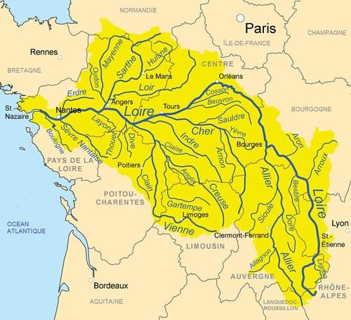 Mapa del País del Loira (Francia)