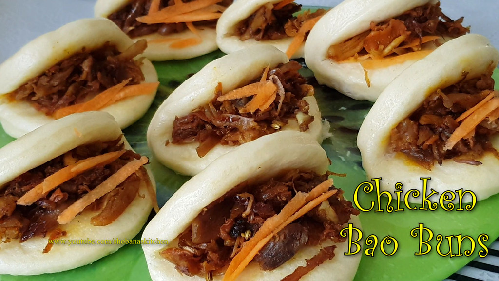 Spicy Chicken Bao Buns / Steamed Bao Buns / Chicken Podimas Buns / Steamed Bun / Shobanas Kitchen