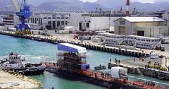 USS Mississippi (SSN 782) docks in Pearl Harbor Naval Shipyard's Dry Dock 1, May 19. (U.S. Navy/Justice Vannatta)