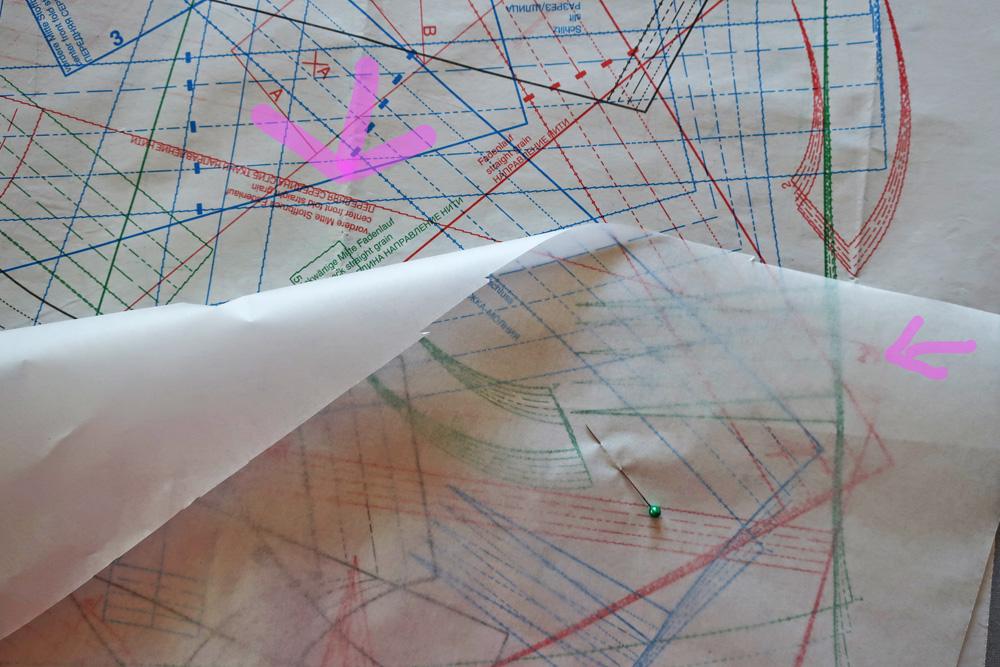 Burda tracing center grainline