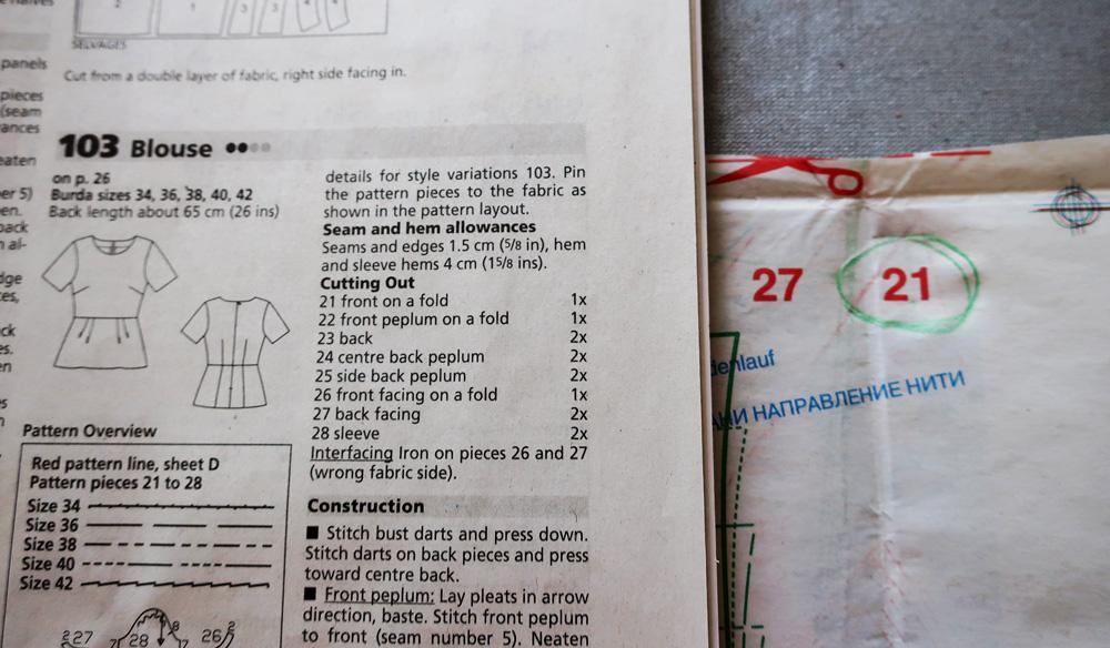 Burda pattern sheet find numbers
