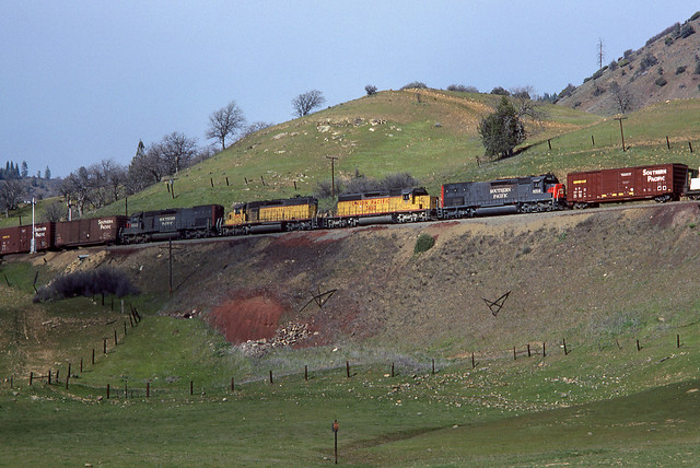 SP Southern Pacific MERVM Helpers SD45T-2 #9316 Westbound Bailey Hill Siskiyou Line 04-02-80