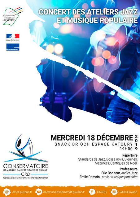 Concert des ateliers jazz et musique populaire (18/12/19)